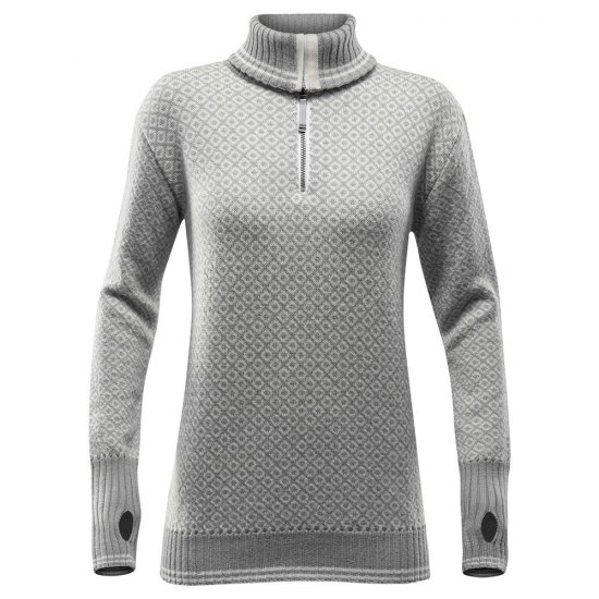 Devold Slogen Woman Zip Neck Grey Melange Offwhite