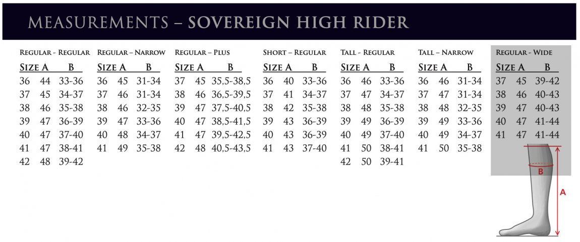 Mountain Horse Sovereign High Rider Ridstövlar Måttabell